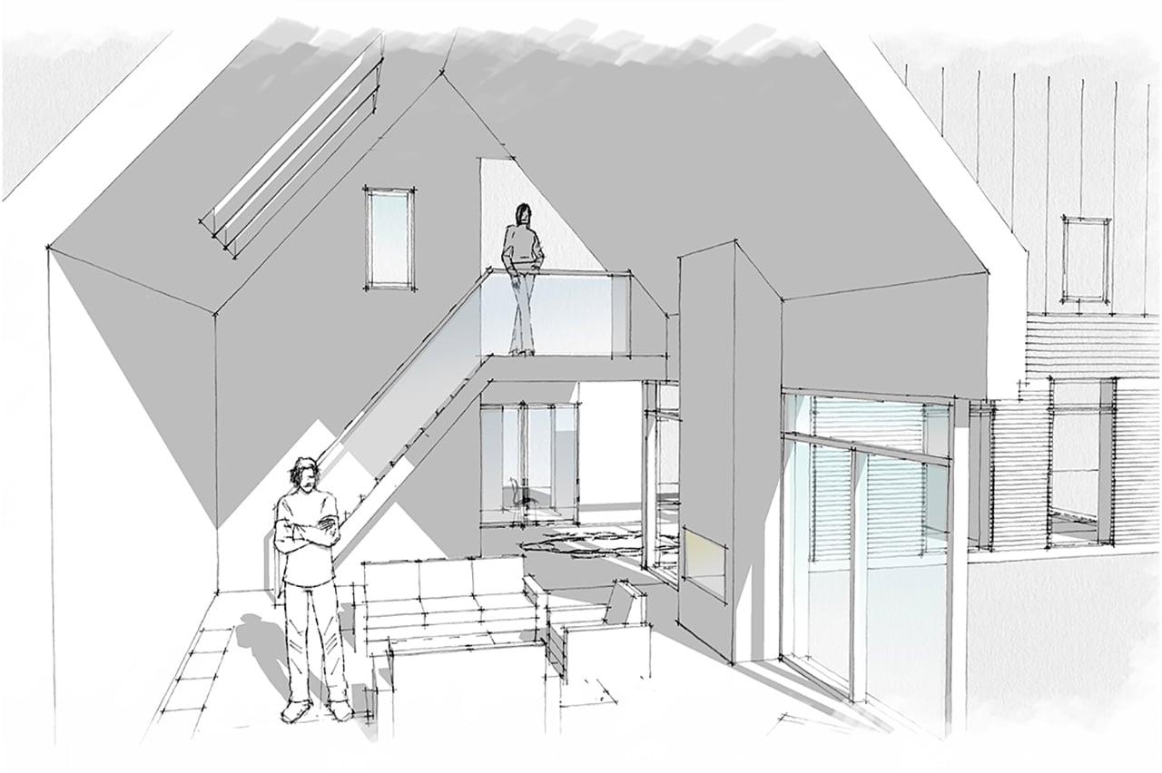 En skitsetegning viser de første idéer og tanker omkring det dobbelthøje rum.