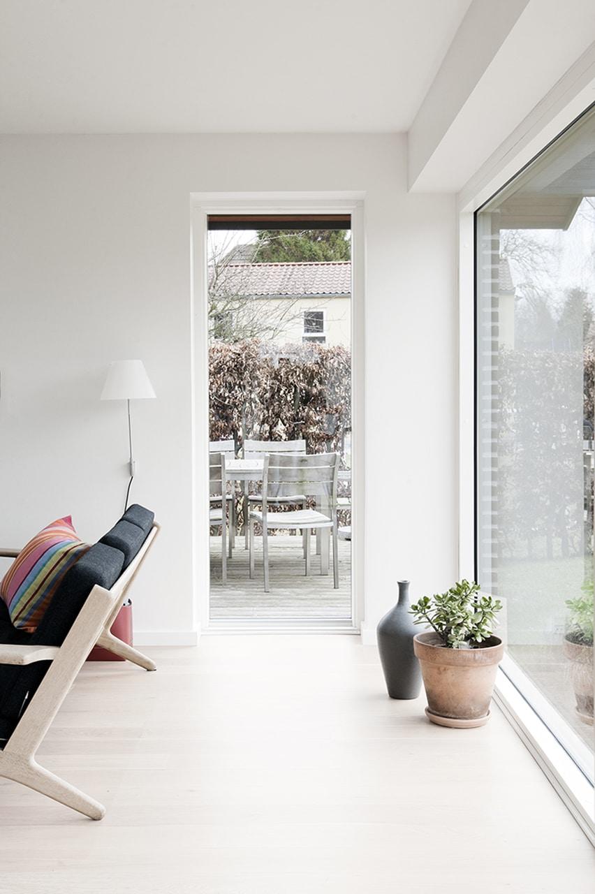 Indvendige lyse overflader og de nye vinduespartiers betydning for dagslyset.