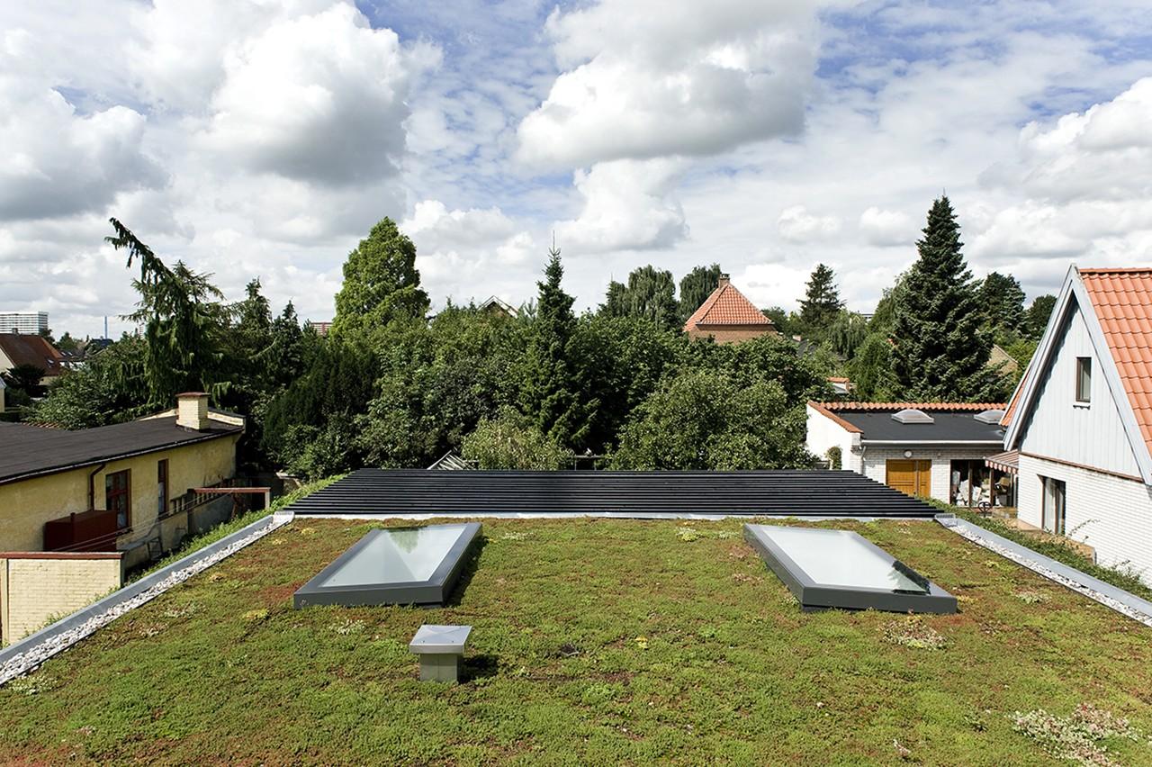 CO2-neutralt tag. Det grønne tag, bestående af en blanding af mos og sedum, bidrager til optagelse af CO2 ved fotosyntese og optager op til 50% af regnvandet fra taget. Taget og dermed udsigten fra 1. sal skifter udseende hen over året.