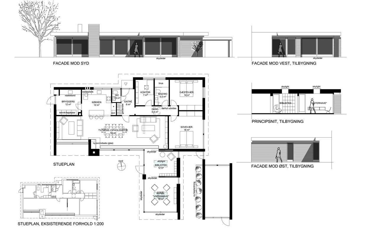 Skitseprojektet for tilbygning og ombygning af typehus fra 1960'erne.