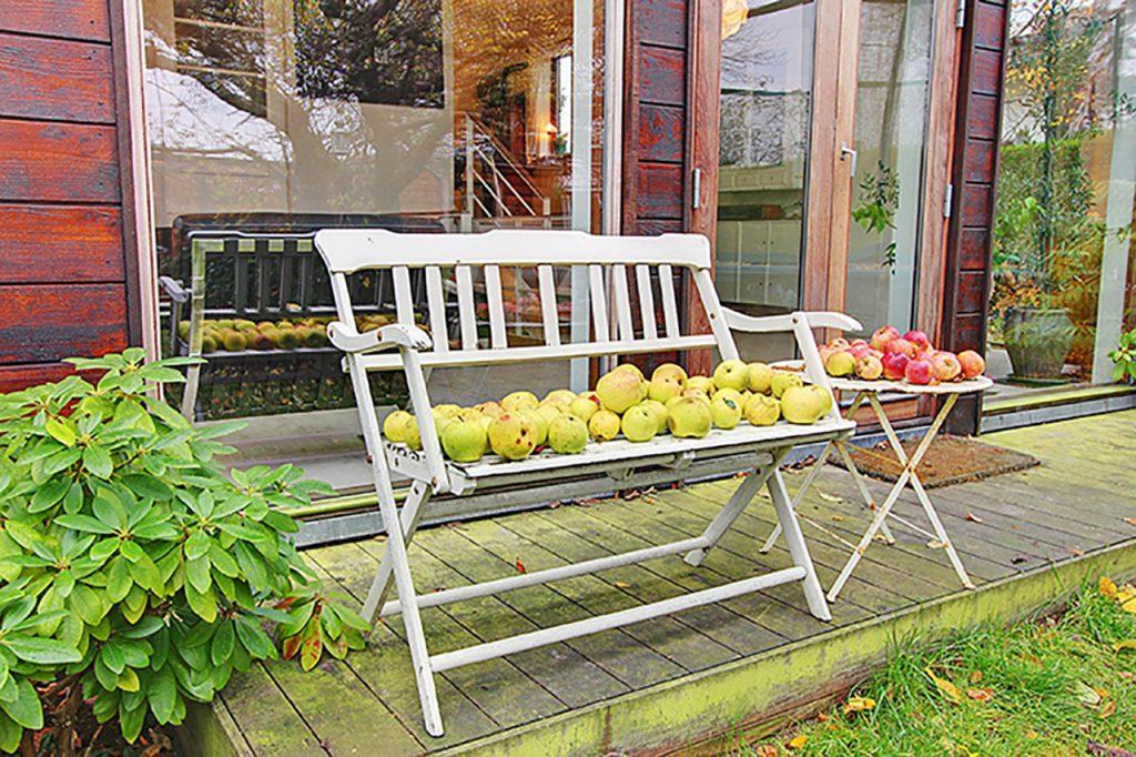 Trætilbygning med højt til loftet og kig til havens frugttræer. Den lille terrasse fungerer som en blid overgang mellem stue og have. Terrassen er belagt med brædder af træsorten Ipé.