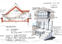 Mødeskitse af dagslyset fra to forskellige kvisttyper i tagetagen. Kvistens høje placering over murkronen kræver en trappe op til tagterrasseniveauet. Forslag til at anvende reposen til andre funktioner.